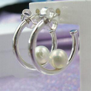 Exquiste PANDORA Contemporary Pearl Hoop Earrings 297528P