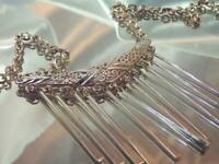 COOL Emmons Signed Vintage 70's Silver Tone X Showy Dangle Runway Necklace 619o0