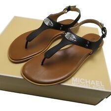 Michael Kors Women's MK Logo Plate Thong Leather Sandal