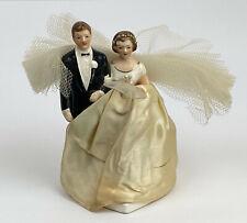 Exquisite 1940's Porcelain Brunette Bride & Groom Wedding Cake Topper