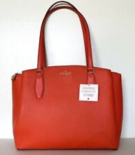New Kate Spade Monet Large Triple compartment Tote Leather Tamarillo