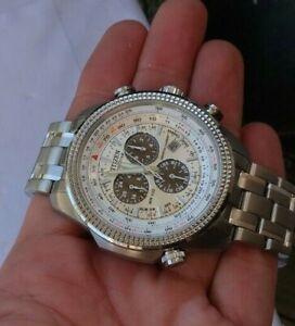 Men's Citizen Eco-Drive Authentic Watch Wristwatch E820-S063370 Calendar Chrono