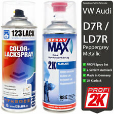 Autolack Spraydosen Set 2K Klarlack + VW Audi PEPPER GREY D7R / LD7R Metallic