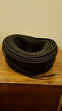 100 ft Black Twisted Cloth Covered Wire Vintage Antique Lamp Cord