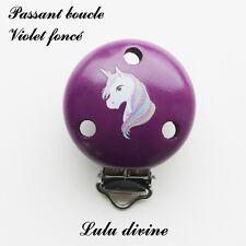 Pince / Clip en bois, attache tétine, passant boucle, Licorne : Violet foncé