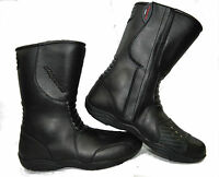 LV11 Motorcycle Black Leather Water Resistant Motorbike Winter Racing Boots