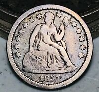 1857 O Seated Liberty Dime 10c Higher Grade Good Date 90% Silver US Coin CC6713