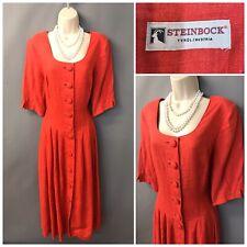 Steinbock Orange Pleated Linen Vintage Dress UK 20 EUR 48 From Austria