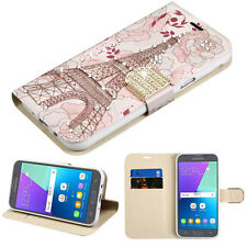 PINK WHITE PARIS WALLET DIAMOND ACCESSORY COVER For Samsung Galaxy J3 Luna Pro *