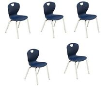 "Scholar Craft Ovation Student Stacking Chairs, 14""H, Navy/Chrome, Set Of 5"