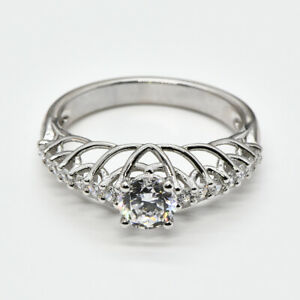 Free risk 14K gold 5mm round moissanite and diamonds solitaire engagment ring