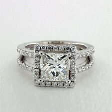Solid 14K White Gold Engagement Rings D/VVS 2.70Ct Diamond Wedding Band Size M