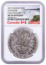 2017 Canada Ancient Ogygopsis 1 oz Silver Antiqued $20 NGC MS70 ER SKU48196