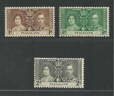 NYASALAND # 51-53 MNH CORONATION OF KING GEORGE VI