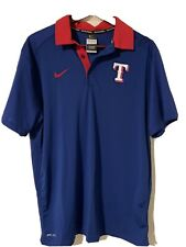 Nike Dri Fit Texas Rangers Large Blue Red Polo Shirt