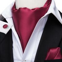 Red Solid Mens Silk Ascot Cravat Tie Set Wedding Business Jacquard Woven