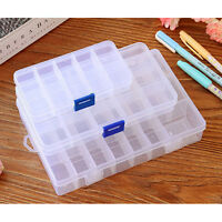 10 15 24 Compartments Clear Plastic Storage Box Jewelry Bead Screw Container