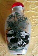 More details for oriental panda & bamboo fine detailed reverse inside hand painted snuff bottle c
