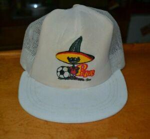 Vintage 1986 Mexico World Cup Pique Mascot Meshback Trucker Hat Cap RARE FIFA