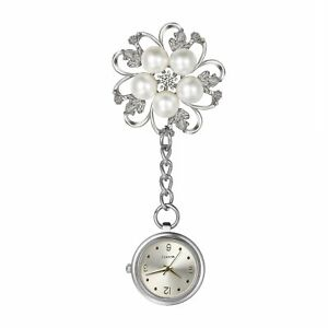 Zirkonia Perle Blume Brosche Fob Clip-on Krankenschwester Uhr Taschenuhr