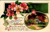 Antique Vtg 1910's LITTLE BIRDIE POEM Happy Birthday Wishes Greeting Postcard