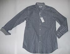 Southern Ajustado L/S Yate Cuadros Azul Corte Clásico Deporte Camisa