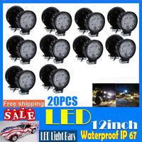 20pcs 27W Round Flood LED Work Light Bar Offroad Lamp For Tractors Duck Boat UTV