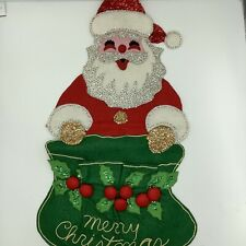 "Santa Merry Christmas Sequins Felt Wall Hanging Mail Vintage 23"""
