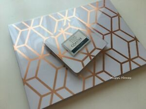 Copper Rose Gold Foil Geo Geometric 4 Placemat & 4 Coaster Dining Table Setting