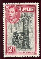 Ceylon 1938 KGVI 2c black & carmine MLH. SG 386. Sc 278d.