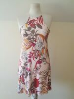 Boohoo Women's Pale Pink Floral Fit Flare Skater Thin Strap Dress Size 12