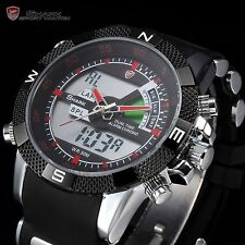 SHARK Men's Digital LCD Dual Time Date Black Rubber Army Sport Watch