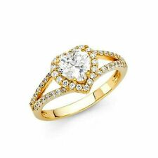 14k White Gold Diamond Halo Split Shank Engagement Ring
