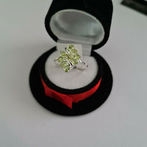 Peridot cluster ring in Sterling Silver