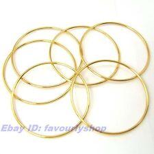 "8.3""2MM SMOOTH THIN CIRCLE 6 BANGLES SET 18K YELLOW GOLD PLATED SOLID FILL GP"