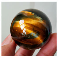 Dark Yellow Asian Rare Tiger Eye Quartz Crystal Healing Ball Sphere 20-22mm Toy