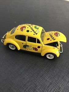 """Volkswagon Bettle Bug Funny Beetle Yellow  Die Cast Car Vehicle 5"""" Push Car"""
