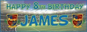 2 PERSONALISED FOOTBALL BIRTHDAY BANNERS - ANY NAME - ANY AGE - ANY BADGE