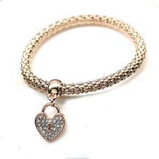 Rose Gold Silver Bracelet Bangle Heart Butterfly Corn Diamond Chain Gift Jewelry