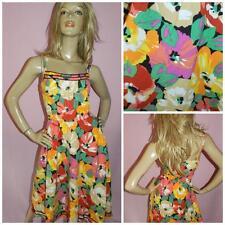70s 80s Bold Multicolor Impresión Floral Pensamiento Sol Vestido 10 S 1970s 1980s Kitsch