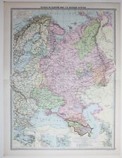 1920 LARGE MAP RUSSIA IN EUROPE POLAND FINLAND CRIMEA ODESSA PLAN HELSINGFORS