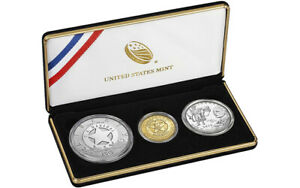 2015 US Mint Marshals Service 3 Coin Proof Set Gold, Silver, Clad - Sealed Box!