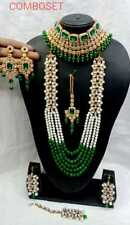 GREEN CZ PEARL GOLD TONE INDIAN BOLLYWOOD RANI HAAR NECKLACE SET BRIDAL JEWELRY