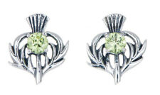 Sterling Silver Thistle Stud Earrings with an August Birthstone Centre