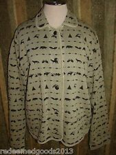 Women's Fall Jacket Coat by WOOLRICH Size Large Lodge Look Moose Deer Pattern