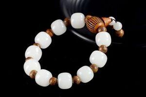 14mm   Natural Xinjiang Hetian White Jade Boutique Bracelet