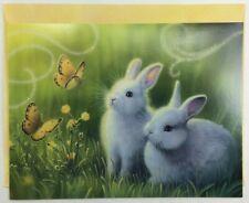 Leanin' Tree Easter Card - White bunny rabbits flowers butterflies glitter