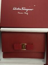 Salvatore Ferragamo Vara Rosso Red Leather Long Wallet Made in Italy NIB