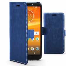 Motorola Moto E5 COQUE Fait à la Main Cuir Pu Luxe Étui Rabattable Porte-Feuille