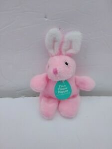 "Dan Dee Pink Bunny Rabbit Plush Finger Puppet 5"" New Sewn Eyes Easter"